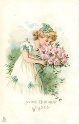 LOVING BIRTHDAY WISHES  girl in white dress stands smelling bunch of roses