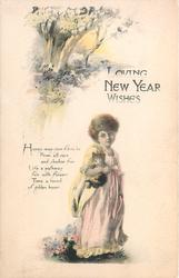 LOVING NEW YEAR WISHES girl stands holding cat, trees & meadow upper left