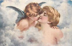 angel kisses nude lady in cloud