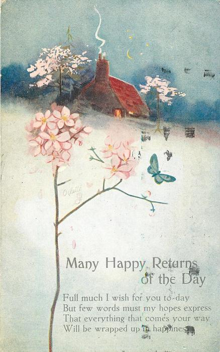 MANY HAPPY RETURNS OF THE DAY  rural scene, smoking chimney cottage behind, butterfly