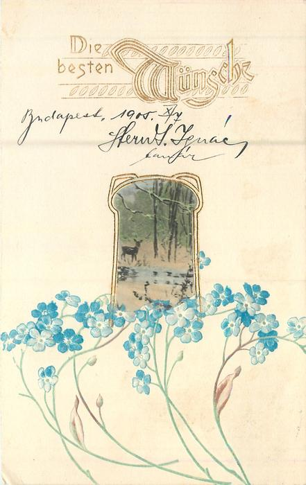 DIE BESTEN MUNSCHE in gilt, nouveau style gilt bordered inset of winter forest with deer, forget-me-nots below