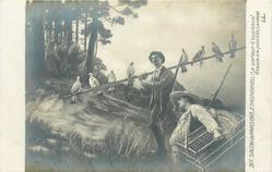 LE PORTEUR D'APPEAUX (CHASSE A LA PALOMBE, LANDES)