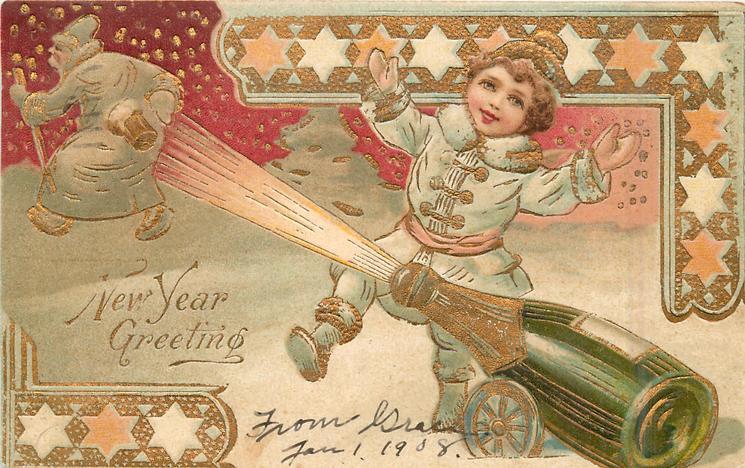 NEW YEAR GREETING  champage bottle fires cork at retreating santa