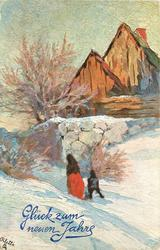 woman & child walking left in deep snow towards gate in stone wall, barn behind