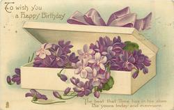 TO WISH YOU A HAPPY BIRTHDAY violets in box