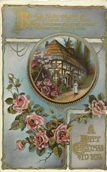 A HAPPY CHRISTMAS  TO YOU woman stands in front of thatched house, pink roses below