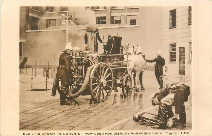 OLD L.F.B. STEAM FIRE ENGINE - NOW USED FOR DISPLAY PURPOSES ONLY back view