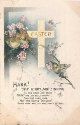 EASTER flowers, three birds & cross