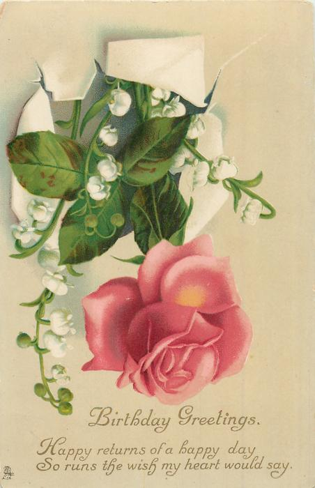 BIRTHDAY GREETINGS one red rose with rose leaves & white lilies of the valley