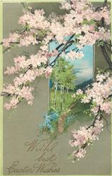 WITH BEST EASTER WISHES tree with pink blossoms right, inset tree lined meadow