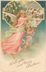 A BRIGHT AND HAPPY CHRISTMAS  tall angel  & small one carrying trumpet fly right, snowy insert top