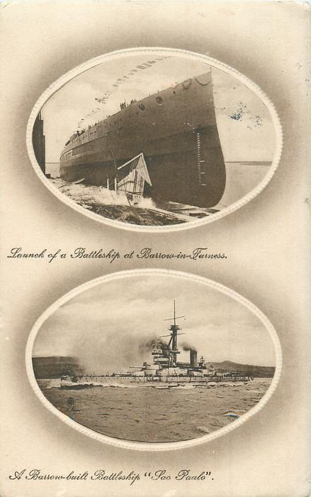 "2 insets LAUNCH OF A BATTLESHIP AT BARROW-IN-FURNESS/A BARROW-BUILT BATTLESHIP ""SAO PAULO"""