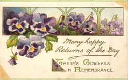 MANY HAPPY  RETURNS OF THE DAY  purple pansies
