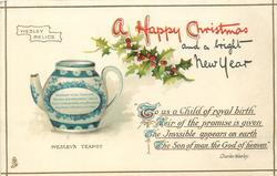 A HAPPY CHRISTMAS AND A BRIGHT NEW YEAR teapot