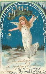 one angel in white carrying branch with candles