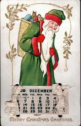 MERRY CHRISTMAS GREETINGS Santa in green coat with red trim, carries stick, white sack on shoulder, walking right & looking front