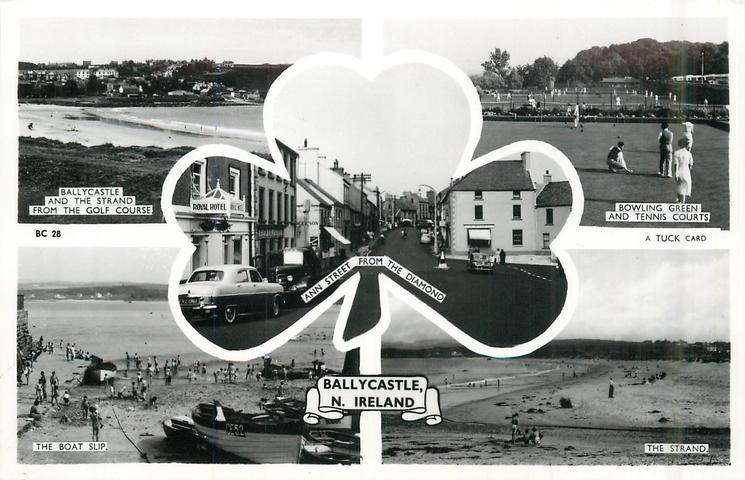 5 insets BALLYCASTLE AND THE STRAND FROM THE GOLF COURSE/BOWLING GREEN AND TENNIS COURTS/ANN STREET FROM THE DIAMOND/THE BOAT SLIP/THE STRAND
