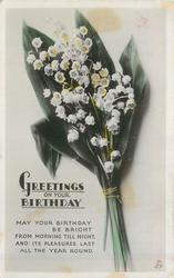 GREETINGS ON YOUR BIRTHDAY lilies-of-the-valley