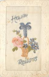 HAPPY RETURNS gilt basket hanging from blue ribbon, pink rose & blue flowers