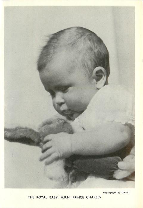 THE ROYAL BABY, H.R.H. PRINCE CHARLES baby holding plush rabbit