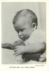 THE ROYAL BABY, H.R.H. PRINCE CHARLES baby holding plush rabbit