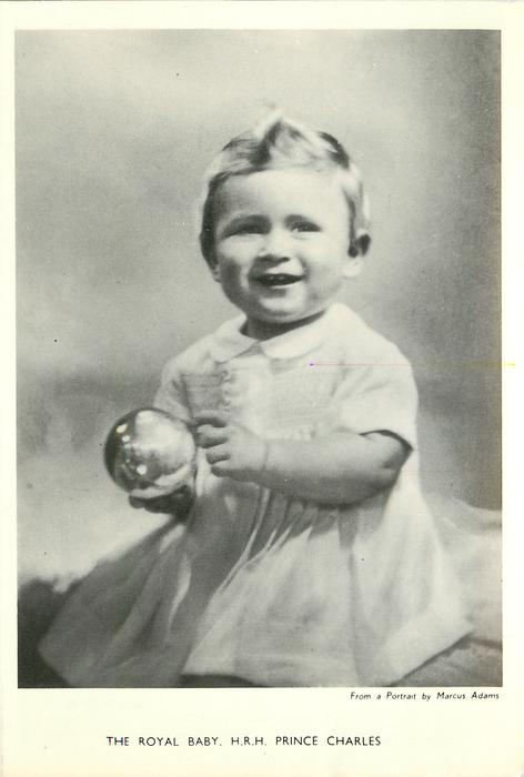 THE ROYAL BABY, H.R.H. PRINCE CHARLES baby holding glass ball