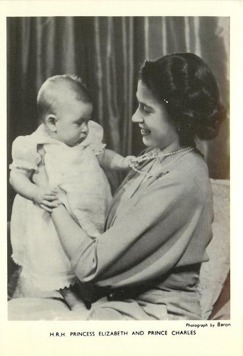 H.R.H. PRINCESS ELIZABETH AND PRINCE CHARLES baby facing right holding necklace of women facing left