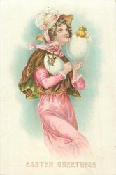 girl wearing pink dress holds two fantasy eggs, one hatching a chick, the other a rabbit, she faces right, looks up