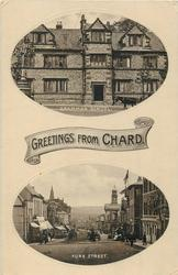 GREETINGS FROM CHARD, 2 insets GRAMMAR SCHOOL and FORE STREET