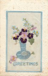 A HAPPY CHRISTMAS  silk blue GREETINGS, blue vase with violets, forget-me-nots & snowdrops, one violet & bud on floor