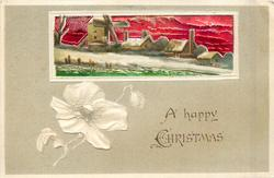 A HAPPY CHRISTMAS rectangular inset of snow houses and windmill along riverbank