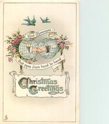 CHRISTMAS GREETINGS  clasped hands in front of globes, roses