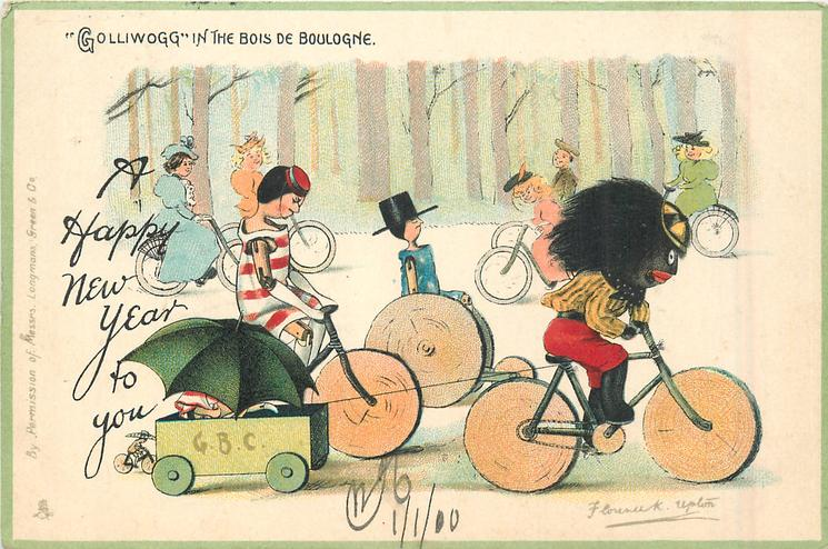 """GOLLIWOGG"" IN THE BOIS DE BOULOGNE, A HAPPY NEW YEAR TO YOU"