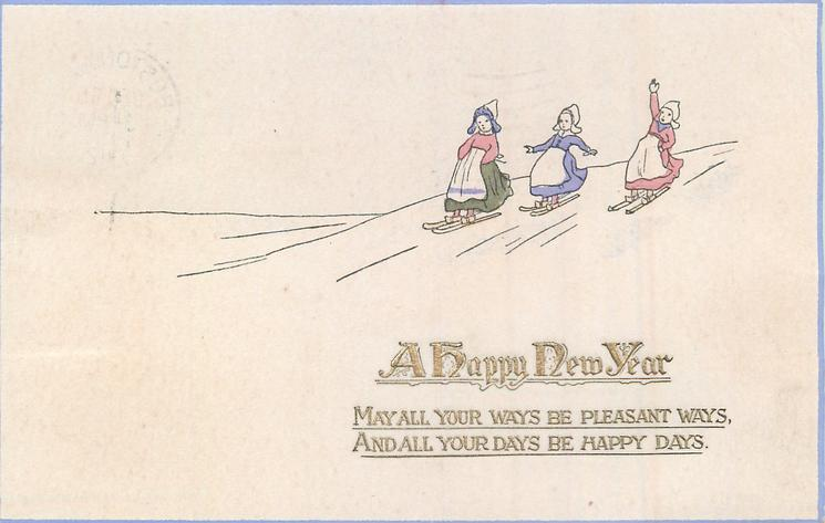 A HAPPY NEW YEAR three girls ski downhill