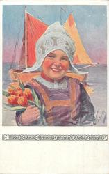 Dutch girl in green shirt, pale blue hat holds tulips, sea & sailing-ship behind