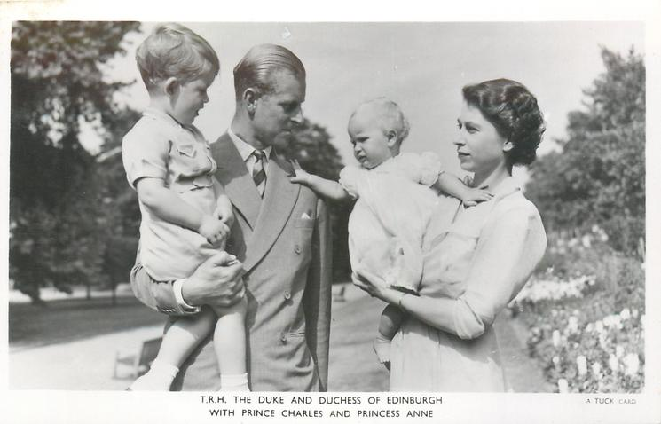 T.R.H. THE DUKE AND DUCHESS OF EDINBURGH WITH PRINCE CHARLES AND PRINCESS ANNE standing in a park
