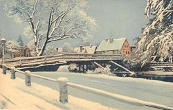 snow scene, bridge to left, houses behind