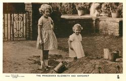 THE PRINCESS ELIZABETH AND MARGARET playing in the dirt