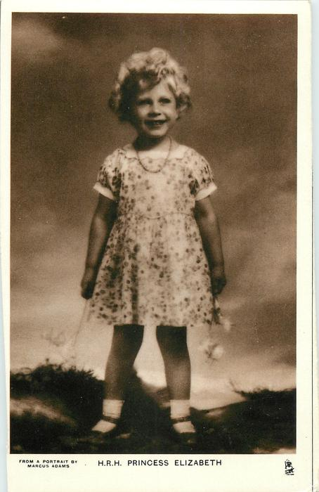 H.R.H PRINCESS ELIZABETH standing with flowers in both hands