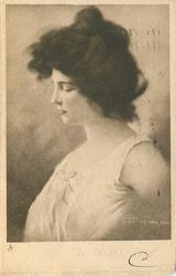 head & shoulders study of young woman in night attire, eye closed, facing left