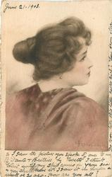 head & shoulders study of young woman, hair in a bun, pearl earing, high necked cloak, facing away & looking right
