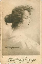 head & shoulders study of young woman, prominent round earring, facing & looking right, white dress