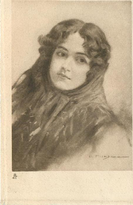 head & shoulders study of young woman, very high necked dress with shawl around chin, facing partly left & looking front/ right
