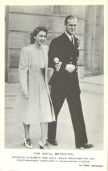 THE ROYAL BETROTHAL, PRINCESS ELIZABETH AND LIEUT. PHILIP MOUNTBATTEN. R.N. PHOTOGRAPHED TOGETHER AT BUCKINGHAM PALACE.