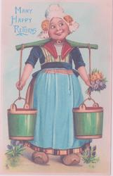 girl in national dress with basket of flowers