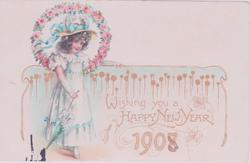 WISHING YOU A HAPPY NEW YEAR, number 1908, girl stands centre left carrying parasol
