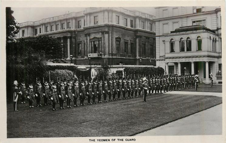 THE YEOMEN  OF THE GUARD all drawn up on parade in front of St. James palace, all face slightly right