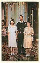 Prince Philip standing, smiling between Pricess Elizabeth with hands at side and Princess Margaret