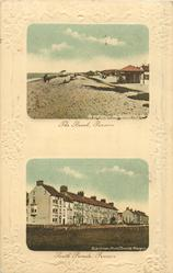 two rectanglar insets  above THE BEACH, PENSARN, below SOUTH PARADE, PENSARN