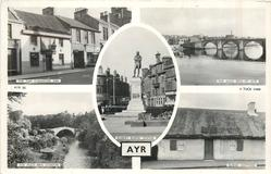 5 insets  TAM O' SHANTER INN/ROBERT BURNS STATUE/THE AULD BRIG OF AYR/THE AULD BRIG O'DOON/BURNS' COTTAGE